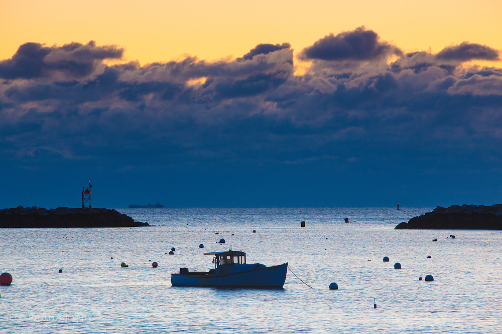 Lobster boat at dawn in Rye Harbor, New Hampshire.