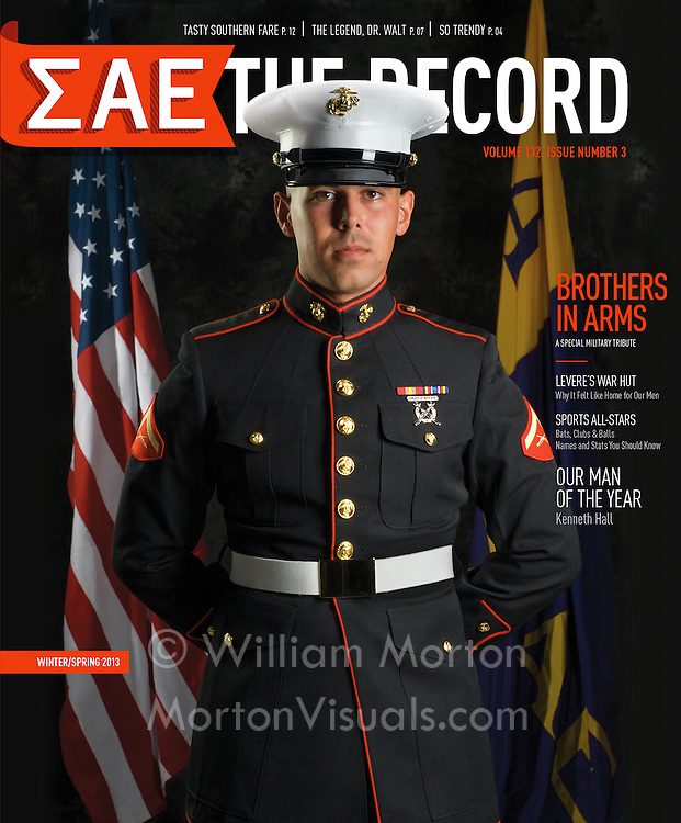 USMC LCpl Jason Fincher is photographed for the cover of the Sigma Alpha Epsilon Foundation's magazine. Photography by Dallas commercial photographer William Morton.