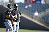 SURPRISE, AZ - MARCH 10:  Jose Abreu #79 and Alexei Ramirez #10 of the Chicago White Sox look on during the spring training game between the Kansas City Royals and Chicago White Sox on March 10, 2015 at Surprise Stadium in Surprise, Arizona. (Photo by Ron Vesely)   Subject:  Jose Abreu; Alexei Ramirez