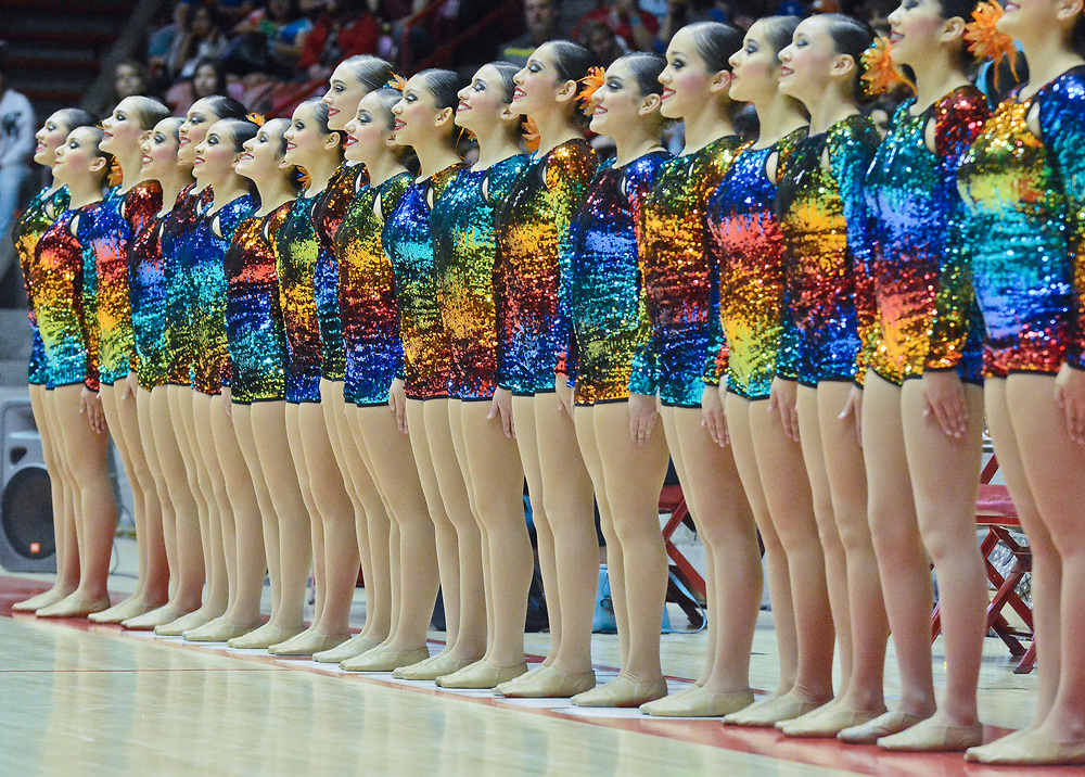 Roswell High's dance team, takes the floor before performing their Class 5A first place routine during the State Spirit Championships at The Pit in Albuquerque, N.M., Saturday, March 25, 2017. (Marla Brose/Albuquerque Journal)