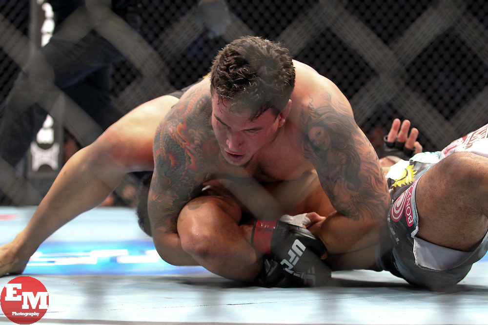 Toronto, Ontario, Canada - December 10, 2011: Frank Mir (black trunks) and Antonio Rodrigo Nogueira (black/white trunks) during UFC 140 at the Air Canada Centre in Toronto, Canada.