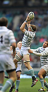 Twickenham, GREAT BRITAIN, Cambridge Lock, Nate BRAKELEY collects the high ball during the  2012 Varsity Rugby match.  Oxford vs Cambridge, at the RFU Stadium, Twickenham, Surrey. on Thursday  06/12/2012...[Mandatory Credit; Peter Spurrier/Intersport-images]