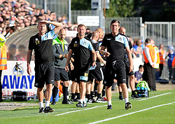 Bristol Rovers Manager Darrell Clarke(R), Bristol Rovers assistant manager, Marcus Stewart(C) and Steve Yates(R) - Mandatory byline: Neil Brookman/JMP - 07966 386802 - 26/09/2015 - FOOTBALL - Memorial Stadium - Bristol, England - Bristol Rovers v Portsmouth - Sky Bet League Two