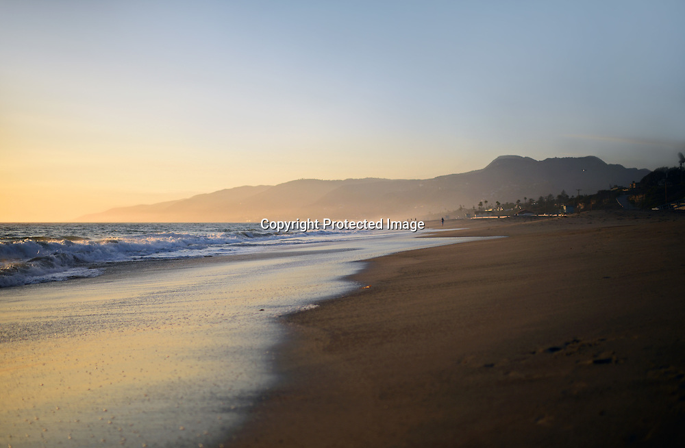 Malibu beach at sunset, California.