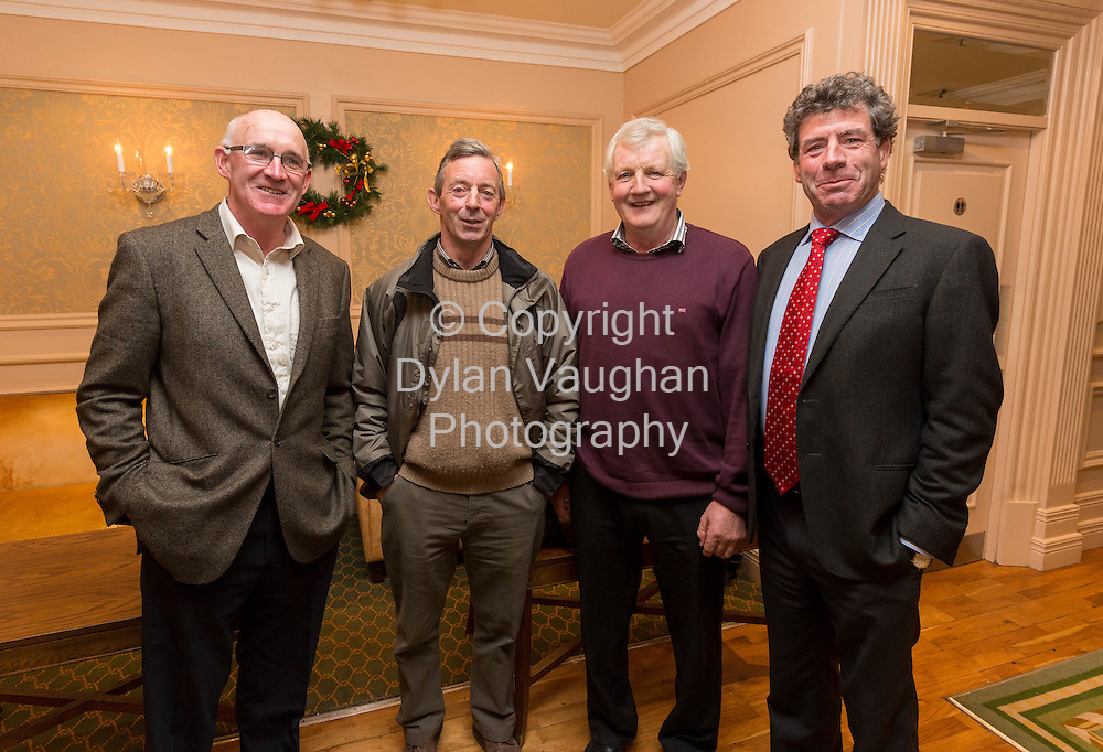 Repro Free no Charge for Repro<br /> 3-12-14<br /> <br /> Pictured at the Glanbia Information Meeting at the Newpark Hotel in Kilkenny was Pat Murphy, Glanbia; Billy Heffernan, Dunnamaggin Co. Kilkenny; Gerry Nolan, Clara Co. Kilkenny and Liam Herlihy, Chairman Glanbia.<br /> <br /> <br /> Picture Dylan Vaughan.