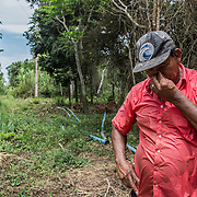Nilton lives with his family in Entre Rios, a riverside community outside Regencia. Unable to irrigate the crop, due to contaminated waters, he estimates that He has lost already half of his production