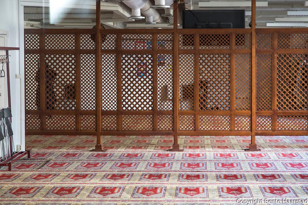 Kvinnene har sitt eget areal, bak et tregitter, bakerst i et eget rom, og inngangen dit er sperret av. Menn de kan kanskje skimte imamen gjennom glassdørene i front. Rabita-moskeen i Oslo. Denne dagen var det bare en kvinne i kvinneavdelingen.