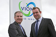 Richard Lochhead (Cabinet Secretary for Rural Affairs and the Environment) visit to Vion Food Group's Coupar Angus processing plant. Nick Smith, general manager, Coupar Angus and Richard Lochhead shake hands