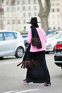 Black Hat and Fur Fringe Scarf, Outside Dries Van Noten