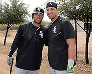 GLENDALE, ARIZONA - FEBRUARY 19:  Yoan Moncada #10 (L) and Jose Abreu #72 of the Chicago White Sox pose for a photo during spring training workouts on February 19, 2017 at Camelback Ranch in Glendale Arizona.  (Photo by Ron Vesely). Subject:  Yoan Moncada; Jose Abreu