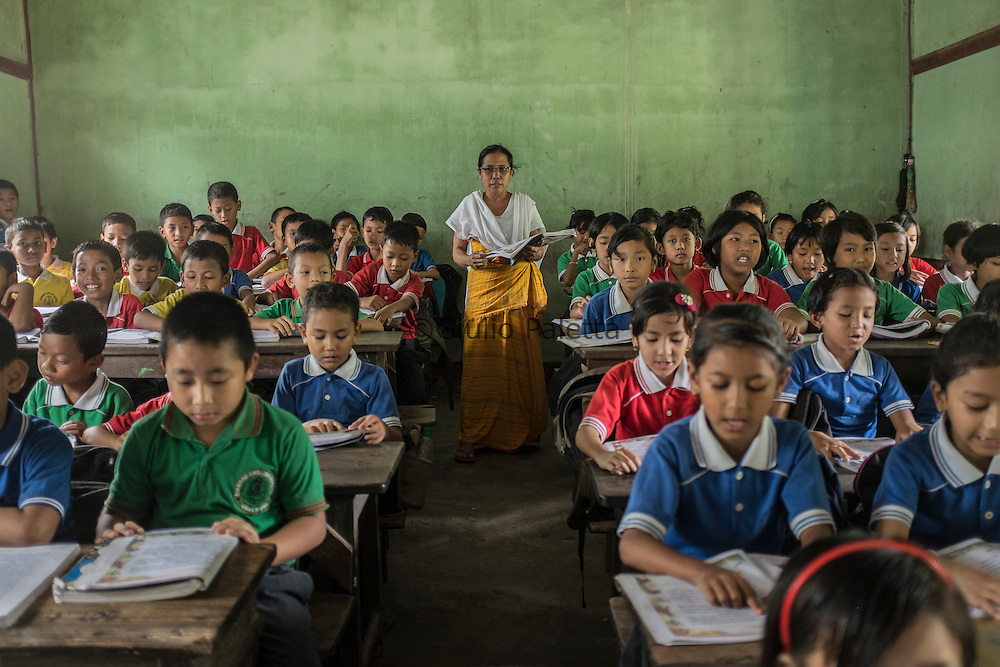 Children studying in a school in Udalguri, 75 km from Tezpur, Assam state, India