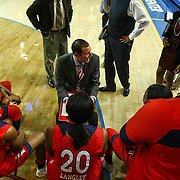 St. John's Women's Head Coach Joe Tartamella directs his team during a timeout in the second half of a NCAA regular season non-conference game between Delaware (CAA) and St. John's (Big East) Monday, Dec 30, 2013 at The Bob Carpenter Sports Convocation Center in Newark Delaware.