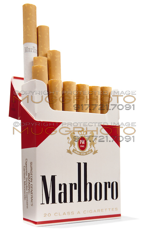 Opened pack of Marlboro cigarettes on white background