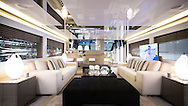 An interior of the New Pearl 75 at the London Boat Show 2016.<br /> Picture date: Friday January 8, 2016.<br /> Photograph by Christopher Ison &copy;<br /> 07544044177<br /> chris@christopherison.com<br /> www.christopherison.com
