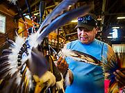 06 MAY 2017 - ST. PAUL, MN: A member of the Bois Forte Band of Chippewa, near International Falls, MN, prepares his regalia before the 6th Annual Powwow for Hope at Ft. Snelling in St. Paul. The powwow was a fundraiser to support cancer education and supportive services for American Indian communities. Proceeds benefited the American Indian Cancer Foundation's work to eliminate cancer burdens on American Indian families. Cancer is the leading cause of death in Native American communities, exceeding coronary disease and diabetes.       PHOTO BY JACK KURTZ
