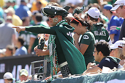 Sept 9, 2012; East Rutherford, NJ, USA; A New York Jets fan cheers during the first half at MetLIfe Stadium.