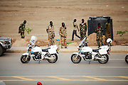 Soldiers oversee preparations at Garang Masoleum in Juba for Southern Sudan's independence ceremonies on July 9....