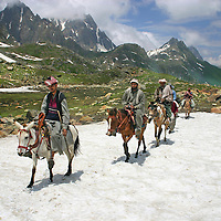 Bakarwal Gujjar mean ride their ponies to work. These men are pony wallahs or porters for the Amarnath Yatra in Kashmir, India every year.