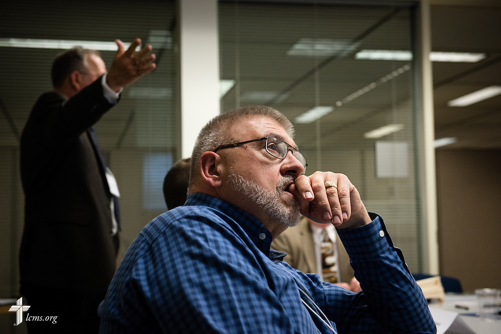 The Rev. Robert Roegner, pastor of Peace Lutheran Church in O'Fallon, Mo., listens during floor-committee weekend at the International Center of The Lutheran Church–Missouri Synod on Saturday, May 28, 2016, in Kirkwood, Mo. LCMS Communications/Erik M. Lunsford