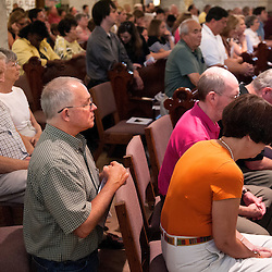 2 AUG. 2015 -- ST. LOUIS -- Worshipers gather for Mass Mob III at Sts. Teresa and Bridget Catholic Parish in St. Louis Sunday, Aug. 2, 2015. The event brings Catholics from across the Archdiocese of St. Louis to worship at historic, urban parishes.<br /> <br /> Photo by Sid Hastings.