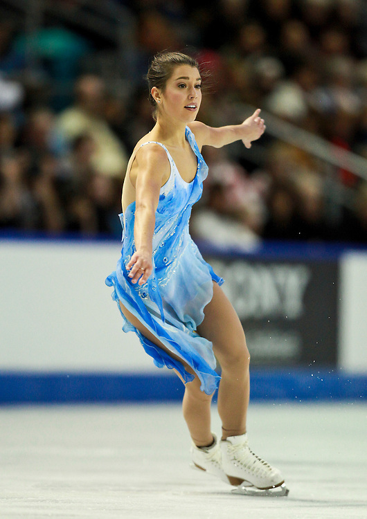 20101030 -- Kingston, Ontario -- Alissa Czisny of the United States skates to victory in the ladies competition at Skate Canada International in Kingston, Ontario, Canada, October 30, 2010. <br /> AFP PHOTO/Geoff Robins