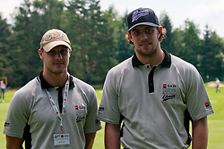 Anze Kopitar, ice hockey player for LA Kings, with Jan Mursak, ice hockey player for Detroit Red Wings, at Anze's Eleven and SKB Charity Golf Tournament, on June 11, 2011 in Golf court Bled, Slovenia. (Photo by Matic Klansek Velej / Sportida)