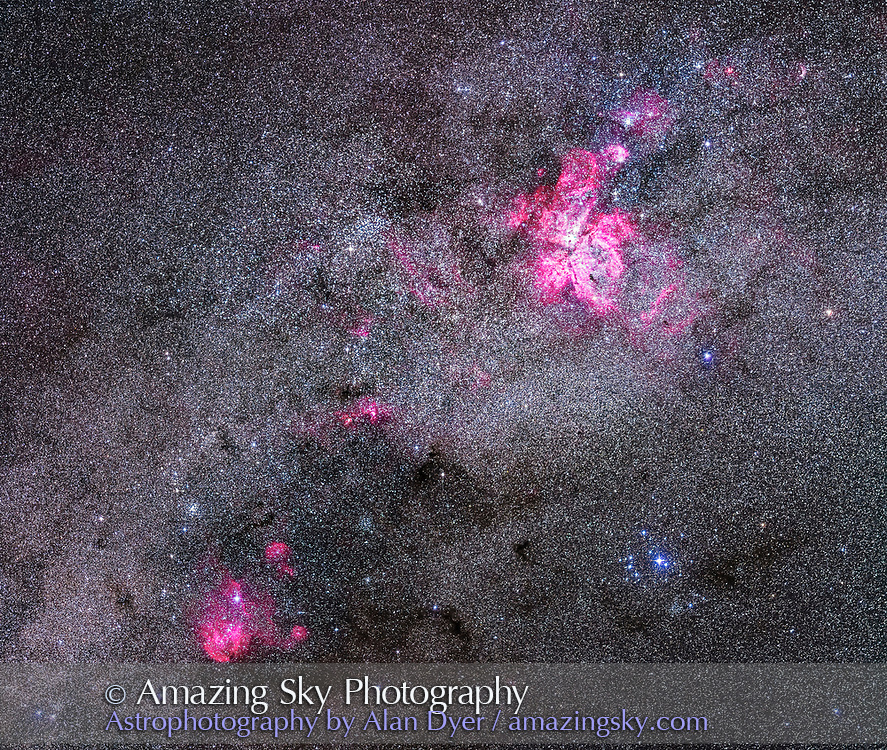A mosaic of the amazingly rich area of Carina and Centaurus with their many superb nebulas and star clusters in this southernmost area of the Milky Way. <br /> <br /> The Carina Nebula (NGC 3372) is at upper centre; the Running Chicken Nebula (IC 2948) is at lower left (aka the Lambda Centauri Nebula). The small red and magenta nebulas at centre are NGC 3603 and NGC 3576. <br /> <br /> The Southern Pleiades cluster (IC 2602) is at bottom right. The Pearl Cluster (NGC 3766) is above the Running Chicken at left. The cluster IC 2714 is to the right of the Chicken amid dark nebulas. The Gem Cluster (NGC 3324) is above and right of the Carina Nebula but small and unresolved here. The Football Cluster (NGC 3532) is top centre, though partly lost amid the rich starfield. The Southern Crescent Nebula (NGC 3199) is at upper right.<br /> <br /> This is a mosaic of six segments, taken with the camera in landscape orientation, stitched with Photoshop to make a square framing of the area. Each segment was a stack of 4 x 2-minute exposures at f/2.8 with the 200mm Canon L-series lens and filter-modified Canon 5D MkII at ISO 2500. Tracked on the AP400 mount but unguided. Shot from Tibuc Gardens Cottage, Coonabarabran, Australia.