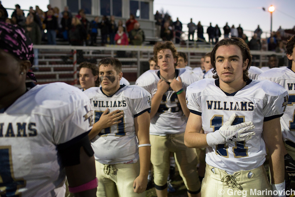 Brockton Massachusetts, USA. October 30, 2016. Brockton Cardinal Spellman Catholic high school play their final game of the season, a win is essential, but they lose to a far stronger side. Photo Greg Marinovich.
