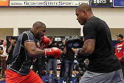 Atlanta, GA - April 20, 2012: Rashad Evans during the UFC 145 open workouts at the Georgia State University Gym in Atlanta, Georgia.