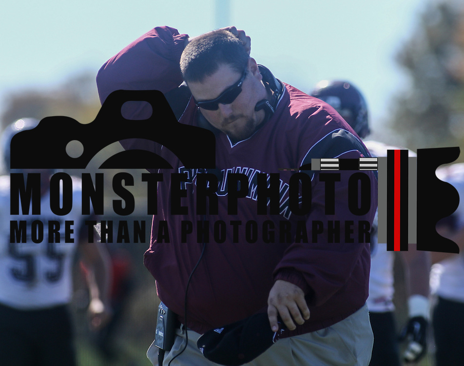Appoquinimink head coach Brian Timpson leaves the field frustrated at the end of the first half against William Penn Saturday, Oct. 10, 2015 at Bill Cole Stadium in New Castle, DE.