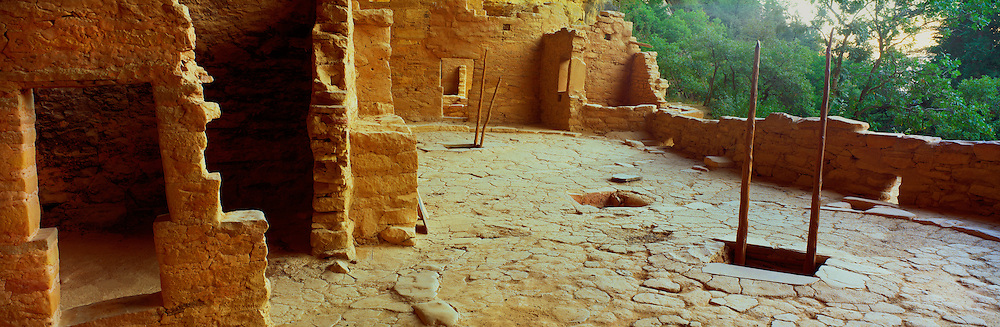 0405-1081LVT ~ Copyright: George H. H. Huey ~ North courtyard of Spruce Tree House, formed by the roof of two kivas.  Ancestral Puebloan culture [aka Anasazi]. 114 rooms and 8 kivas. Constructed A.D. 1200-1276. Home to 100 people. Mesa Verde National Park, Colorado.  ..North courtyard of Spruce Tree House cliff dwelling, formed by roof of two kivas.  Ancestral Puebloan culture (aka Anasazi).  114 rooms and 8 kivas.  Contructed & occupied A.D. 1200-1276.  Home to 100 people.  Near Cortez & Durango, Colorado.  Mesa Verde National Park, Colorado.