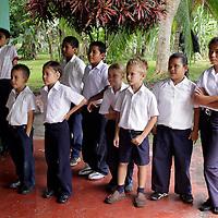 Central America, Costa Rica, Puerto Jiminez. Kids at Esculea Carbonera, a small school nearby Lapa Rios.