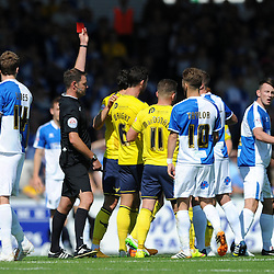 Ollie Clarke of Bristol Rovers is sent of by referee, James Linington (far right) - Mandatory byline: Dougie Allward/JMP - 07966386802 - 06/09/2015 - FOOTBALL - Memorial Stadium -Bristol,England - Bristol Rovers v Oxford United - Sky Bet League Two