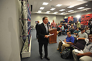 Ole Miss football coach Houston Nutt leaves a news conference Monday Nov. 7, 2011 at the University of Mississippi in Oxford, Miss. Nutt will resign at the end of the season.