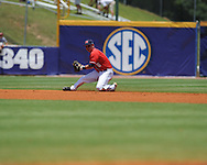 Mississippi's Kevin Mort throws to second for a force out vs. South Carolina during the Southeastern Conference tournament at Regions Park in Hoover, Ala. on Wednesday, May 26, 2010.Ole Miss won 3-0.
