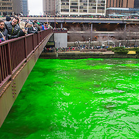 CHICAGO - MARCH 16: The Chicago River is dyed green for St. Patrick's Day in Chicago on March 16, 2013