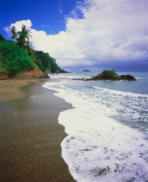 6212-1024C ~ Copyright: George H. H. Huey ~ Black sand beach at Pembroke Bay. Atlantic coast. Island of Tobago. Caribbean. Trinidad and Tobago.