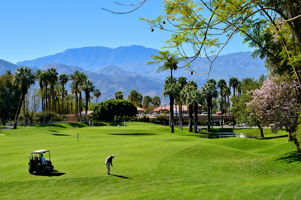 Golfing in Coachella Valley in Palm Desert, California <br /> It is hard to believe California has the fewest golf courses per capita than any other state: one per 32,679 people. This dearth of links is not a problem in the Coachella Valley. There are over 120 courses to choose from, ranging from municipal courses to exclusive private clubs. A beautiful example is the Desert Springs Golf Club. Their twin, 18 hole courses were designed by Ted Robinson. This highly ranked and often praised property is managed by Marriott. In the background is the Santa Rosa Mountains.