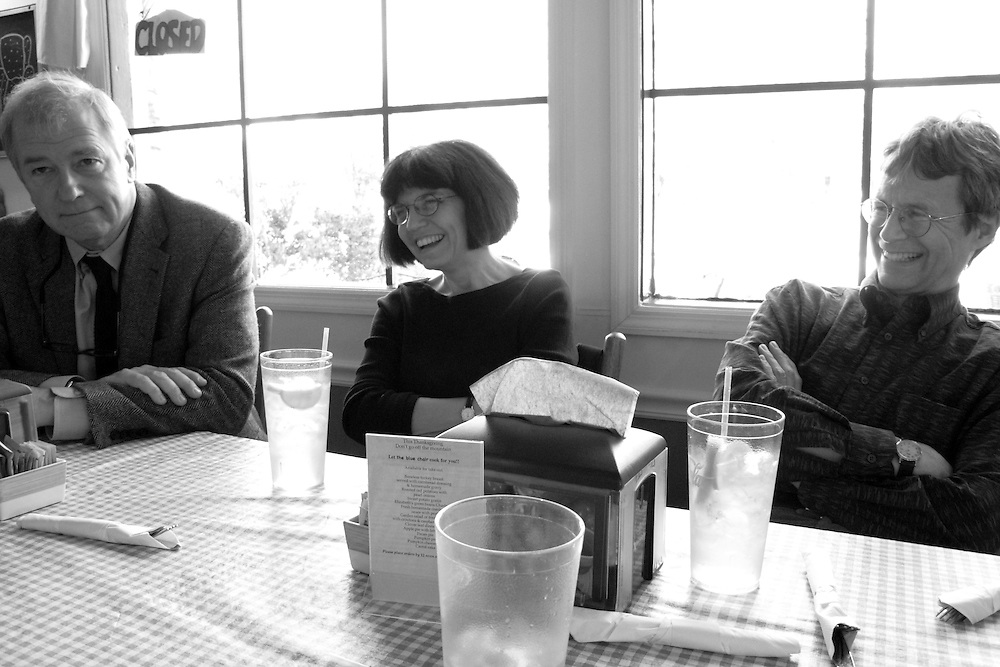 Wyatt Prunty (poet, critic, and director of the Sewanee Writers' Conference), Debora Greger (poet at the University of Florida), and William Logan (poet and critic at the University of Florida) at a cafe in Sewanee, Tennessee.
