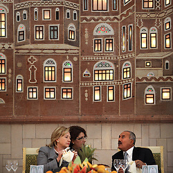 Secretary of State Hillary Rodham Clinton is seen with Yemeni President Ali Abdullah Saleh in Sana'a, Yemen on Jan. 11, 2011.