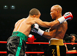Nov 8, 2008; New York, NY, USA; Zab Judah and Ernest Johnson trade punches during their fight at Madison Square Garden in New York, NY.