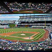SHOT 9/21/11 1:14:13 PM - A view of Coors Field from the Press Box as the Colorado Rockies play the San Diego Padres during their MLB game in Denver, Co. The Padres won the game 4-0. (Photo by Marc Piscotty /  © 2011)