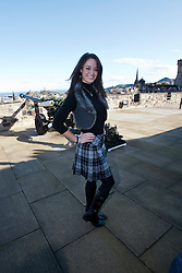 Miss Scotland Jennifer Reochs at the One O'clock gun..The Miss World participants visit Edinburgh Castle and will witness the firing of the One O'clock gun..MISS WORLD 2011 VISITS SCOTLAND..Pic © Michael Schofield.