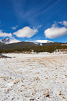 Winter road in Colorado. Panorama of Longs Peak to Estes Cone. Composite of five images taken with a Nikon D3 camera and 24-70 mm f/2.8 lens (ISO 200, 24 mm, f/16, 1/250 sec). Raw images processed with Capture One Pro and the composite generated using AutoPano Giga Pro.