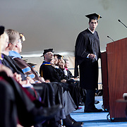 10/21/2011- Medford/Somerville, Mass. - Tomas Garcia, A12, delivers the Greetings on behalf of the undergraduate students at the inauguration ceremony for Tufts 13th President Anthony Monaco on Oct. 21, 2011. (Kelvin Ma/Tufts University)