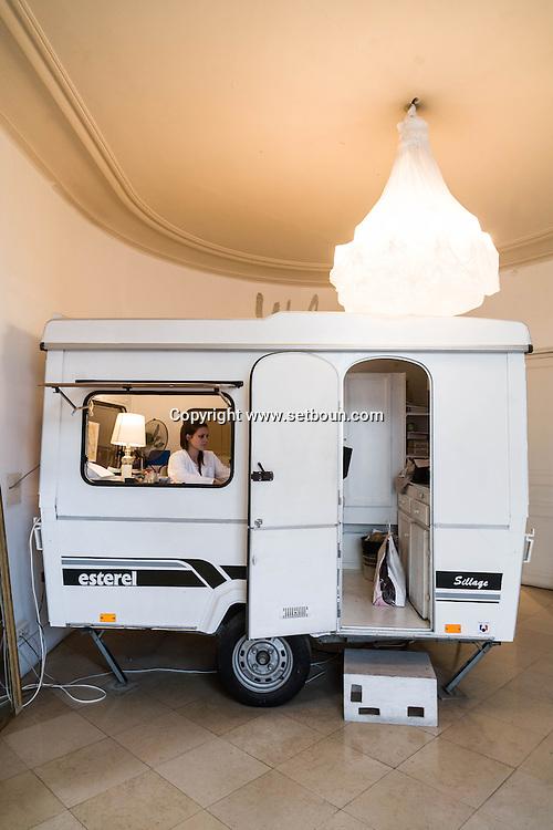 France. Paris fashion. trailer in Martin Margiela couture showroom  163 rue Saint Maur
