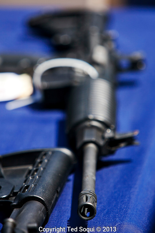 An assault weapon that was modified to fire fully automatically that was sold to undercover agents..Operation Sudden Impact solves six cold case murders, and leads to the arrest of forty gang members and associates who operated in Montebello, CA. .A large cache of assault weapons, many modified to fire fully automatically, were also seized. A rocket launcher was also seized by the joint task force. .Operation Sudden Impact was a multi agency effort of the ATF, Montebello PD, LA Co. Sheriff Dept, and the CA DOC, and was a two year long investigation.