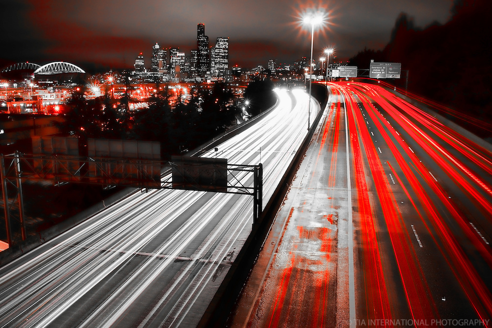 Interstate 5 & Seattle Skyline @ Night