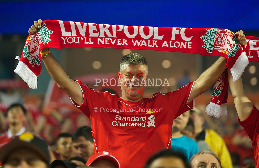 MIAMI, USA - Monday, August 4, 2014: Liverpool supporters during the International Champions Cup Final match against Manchester United at the SunLife Stadium on day fifteen of the club's USA Tour. (Pic by David Rawcliffe/Propaganda)