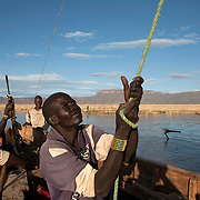Fishermen venture into deeper waters for the day's fishing in Lake Turkana some kilometres from Todonyang near the Kenya-Ethiopia border in north-western Kenya.